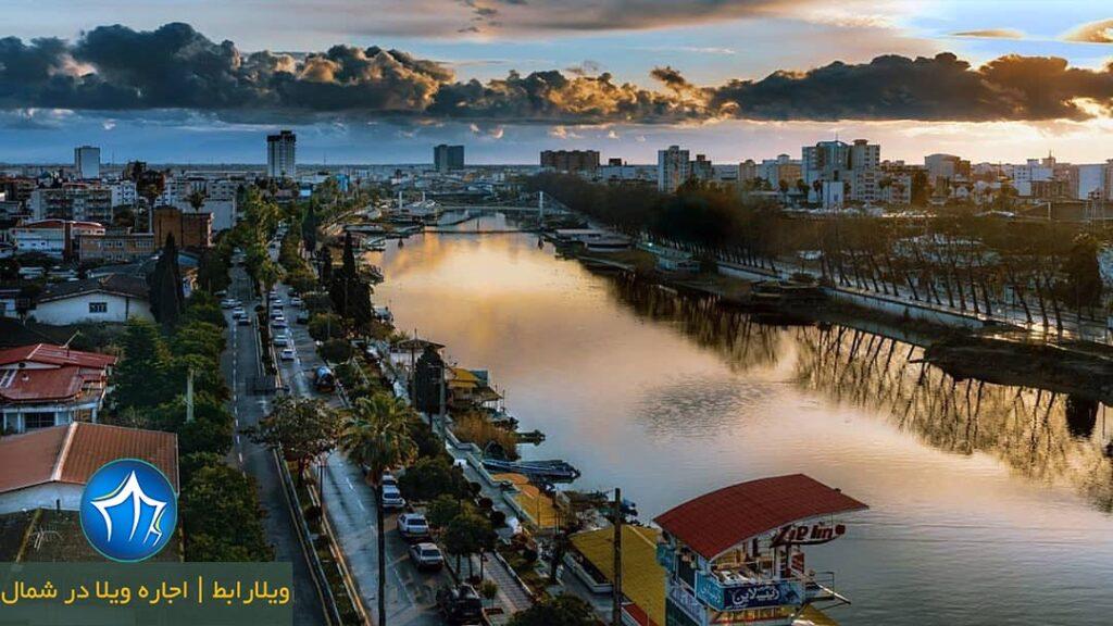 رودخانه بابلسر پل فلزی و بازار سنتی بابلسر